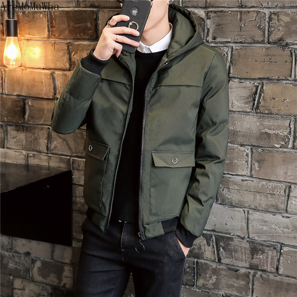 aremomuwha big pocket tooling hooded cotton suit winter new short down cotton clothes jacket men's thickening handsome trend