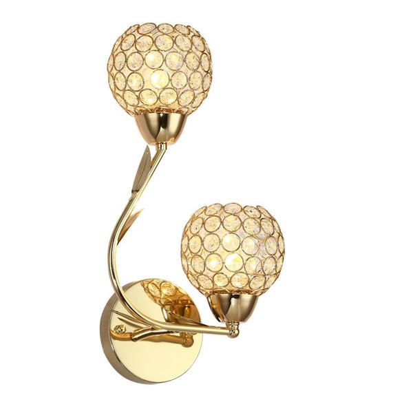 Altın Çift başlı K9 Kristal Duvar Lambası Yaratıcı Sanatlar Rıhtım Lamba Kristal Top LED Duvar Işıkları İç Aydınlatma E14 Ampul LED Ayna Işık