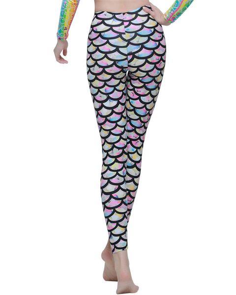Women Swim Tights Full Legs Sun Protective Swimwear Fish Mermaid Scales Printed Leggings for Scuba Swim Yoga Snorkeling