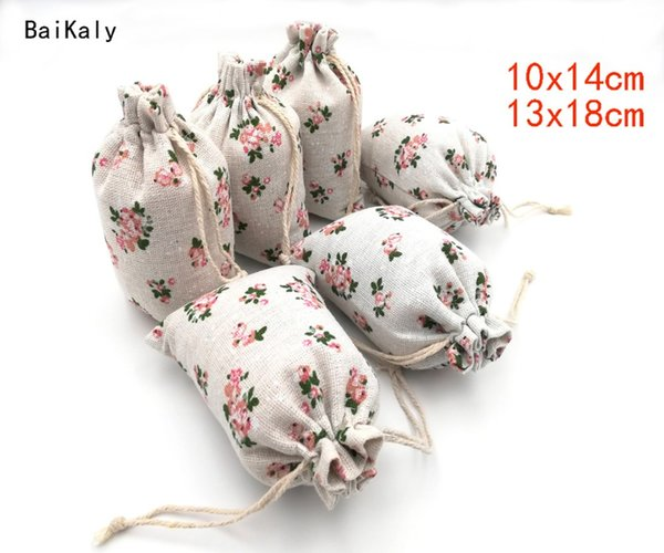 50pcs/lot Flower Printing Bag Cotton Linen Bag Drawstring Pouch Jewelry Packaging Bags Wedding Party Favor Gift Bags Supplies