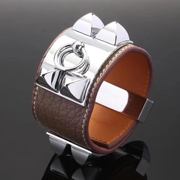 Fashion jewelry men and women cuff bracelet Litchi pattern leather bangle bracelet Crude stainless steel nails charm bracelets
