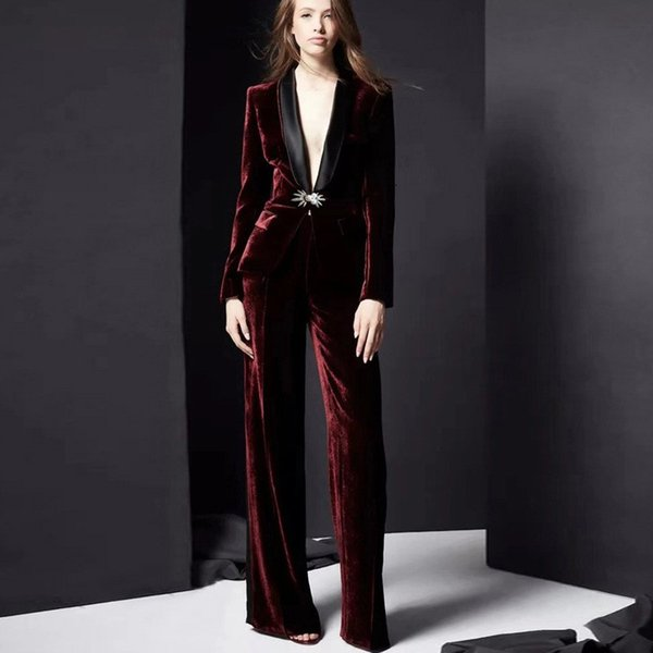 Red RoosaRosee stilista Donna 2 piece set Autunno Primavera Spilla Fiore giacca corta Blazer + Pants della signora OL abito di velluto