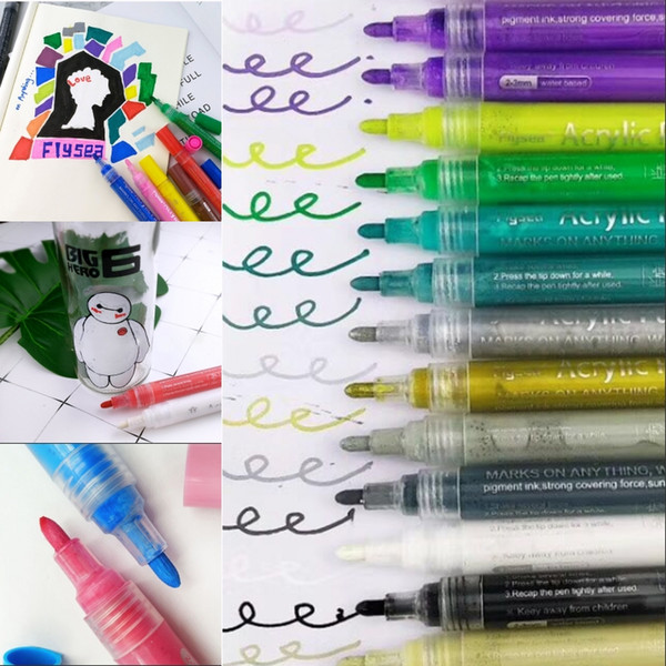best selling Creative Acrylic Markers Pens Highlighter Waterproof Hand DIY Paint Art Markers Painting Fashion for For Art Design School Supplies