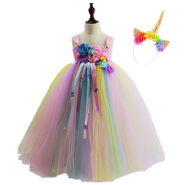 Pastel Rainbow Girls Unicorn Tutu Dress Flowers Princess Birthday Unicorn Party Dresses Kids Halloween Unicorn Costume Bg037 J190506