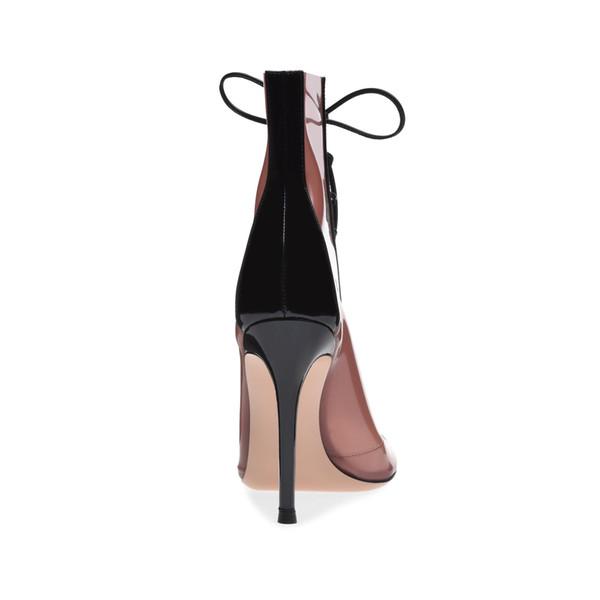 Heißer Verkauf- neue Art und Weise lädt Peeptoes pvc Mischfarben hohe Knöchelaufladungen Fersen schnüren Vitrine Partei Frauenschuhe Botas