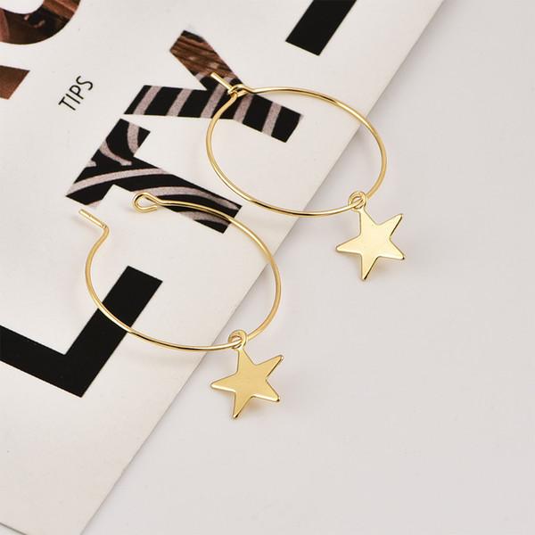 2019 nuova personalità semplice pentagramma orecchino femminile stella metallica ciondola gli orecchini per le donne ragazza gioielli alla moda