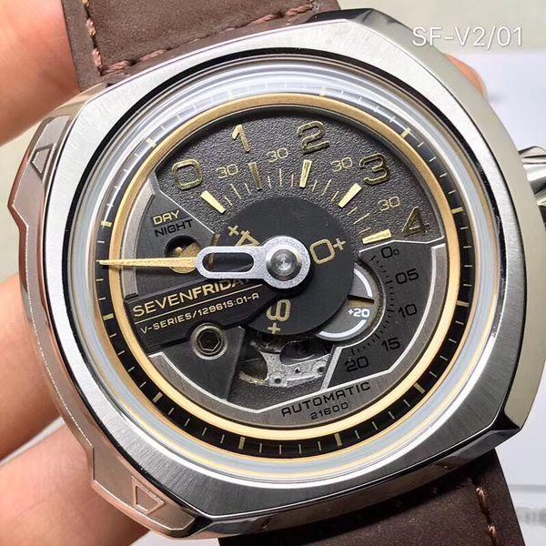 2019 Sevenfriday Relógios homem Assista movimento Miyota Com NFC fibra quadrado de marcação V série V2 / 01 automático impermeável relógio dos homens mecânica