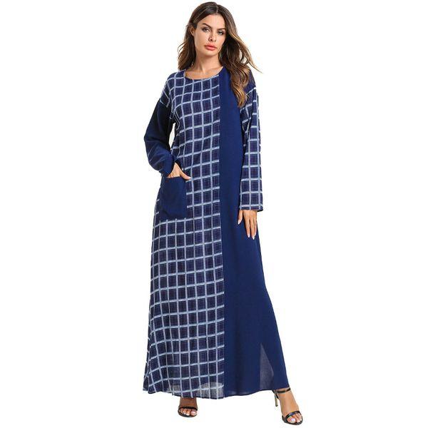 Women Long Sleeve O Neck Patchwork Blue Plaid Printed casual Maxi Kuftan Pullover High Waist Dress Tartan Clothing plus size 4xl with pocket