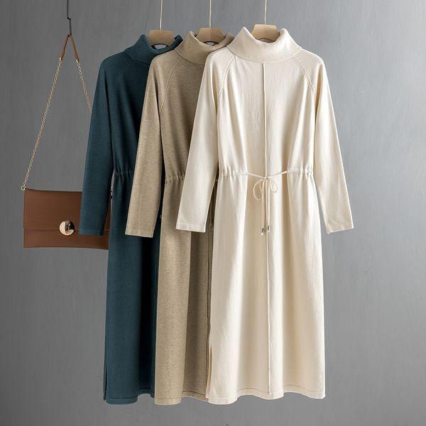 gigogou oversize loose women long knit maxi dress vertical stripe straight dress winter turtleneck pullover midi dress drawsting