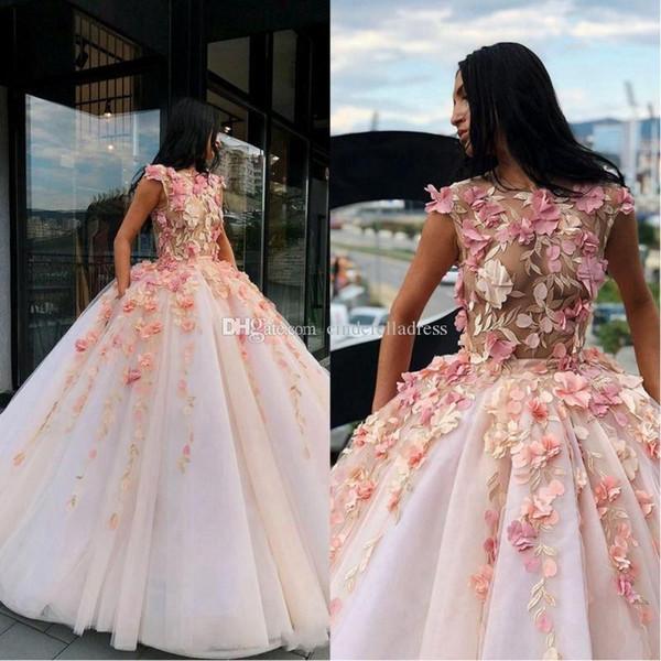 2020 colorido elegante vestido de baile de vestidos de baile Ilusión vestidos joya partido de la flor hecha a mano del cuello Vestidos hinchada falda de tul de quinceañera