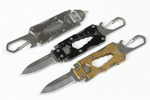 Offre Spéciale JL Extérieur EDC Couteaux De Poche Outils 440C Satin Lame 3 Poignée Couleurs Poignée En Acier Multi-outil Avec Boîte De Retial Package