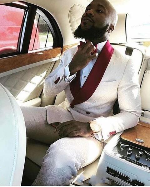 2019 Moda Noivo Smoking Padrinhos Padrinhos Shawl Lapela Melhor Homem Terno De Casamento Dos Homens Blazer Ternos (Jacket + Calças) Barato Mens Prom Tuxedos Ternos