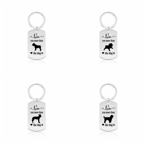 Dog Tag Pet ID Presente Do Cartão Pingente Personalizar Lettering aço Inoxidável Chaveiro Das Mulheres Dos Homens Da Menina Do Menino Único Saco Chaveiros Chave Acessórios de Jóias