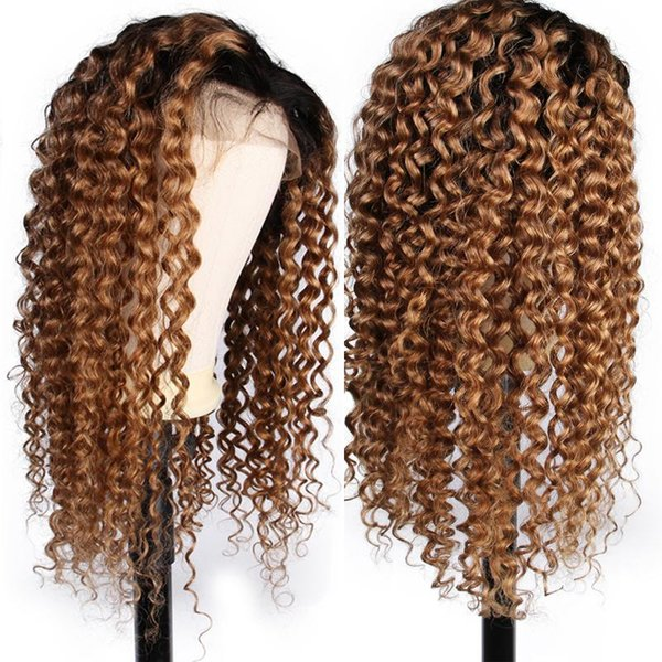 1B 27 Ombre Deep Part Lace Front Human Hair Wigs With Baby Hair Curly Remy Pre Plucked Brazilian Full Lace Wig Bleached Knots