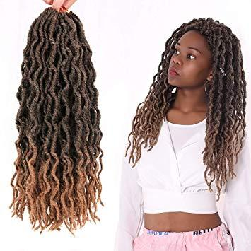 "Premium Fiber Hair Nu Locs 18"" African Roots Braid Collection Pre-Looped Wavy Faux Locs Crochet Hair(Color #T-27)"