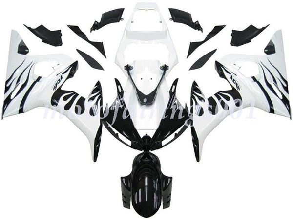Neues ABS-Verkleidungsset für Yamaha YZF-R6 R6 2003 2004 2005 03 04 05 Custom Free White Flame Black