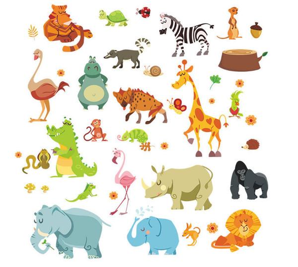 Забавный Счастливый Зоопарк Милый Динозавр Зебра Жираф Змея Стены Стикеры Для Детей Номеров Детские Home Decor Мультфильм Животных Наклейки Diy Росписи D19011702