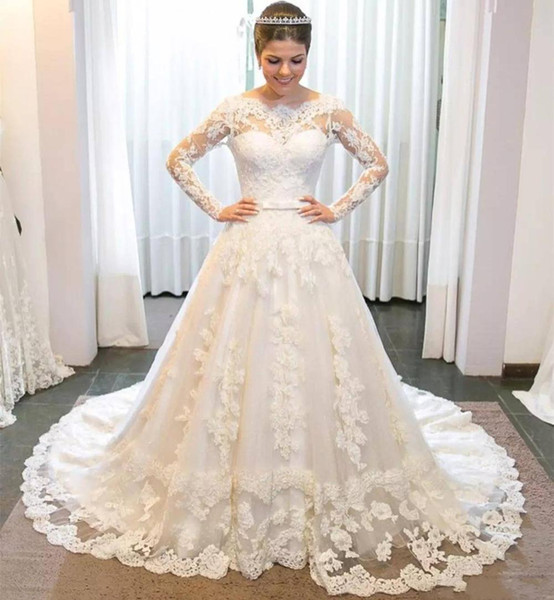 Gorgeous White Ball Gown Chapel Wedding Dresses Jewel Neck See Through Back Appliques Pearls Bridal Gowns Chapel Train Vestido de Noiva