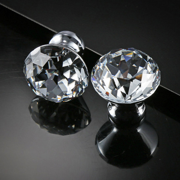 top popular Delicate Crystal Glass Knobs Cupboard Pulls 30mm Diamond Shape Design Handles Drawer Knobs Kitchen Furniture Cabinet Handles DH0921 T03 2021