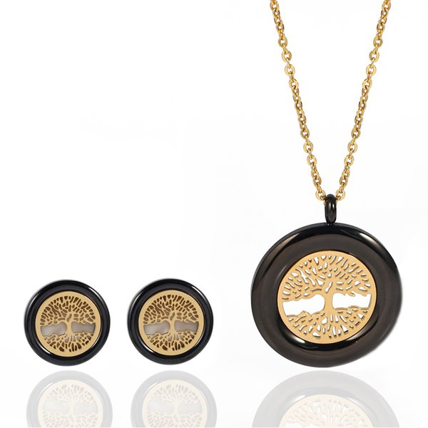 Wisdom Tree Necklace earrings set metal Gold pla ted with Big Cystal Tree Of Life Series earrings Women Girls Gifts jewelry set