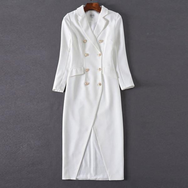 2019 Vestito da blazer bianco a fessura sexy con nuova moda autunnale Abiti aderenti a manica lunga con bottoni color oro a doppio petto