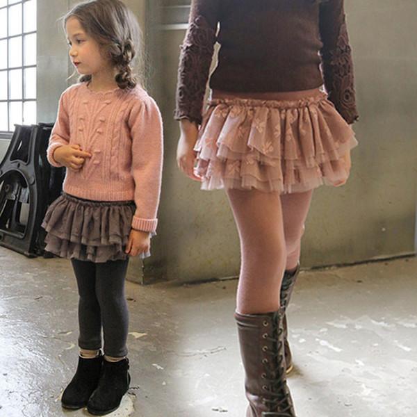 Winter Warm Trousers for Girls Cotton Thick Leggings Kids Girl Fleece Lace Skirt Pants Children Skinny Leggings 4 5 6 7 8 Years