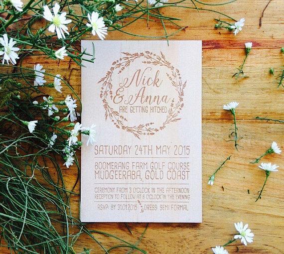 Kişiselleştirilmiş Ahşap düğün davetiyesi - Kereste düğün davetiyesi - Vines Design-Wedding davetiyeleri