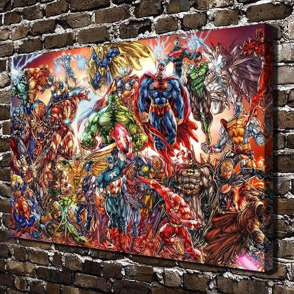 DC Universe and Marvel Comics,1 Pieces Home Decor HD Printed Modern Art Painting on Canvas (Unframed/Framed)
