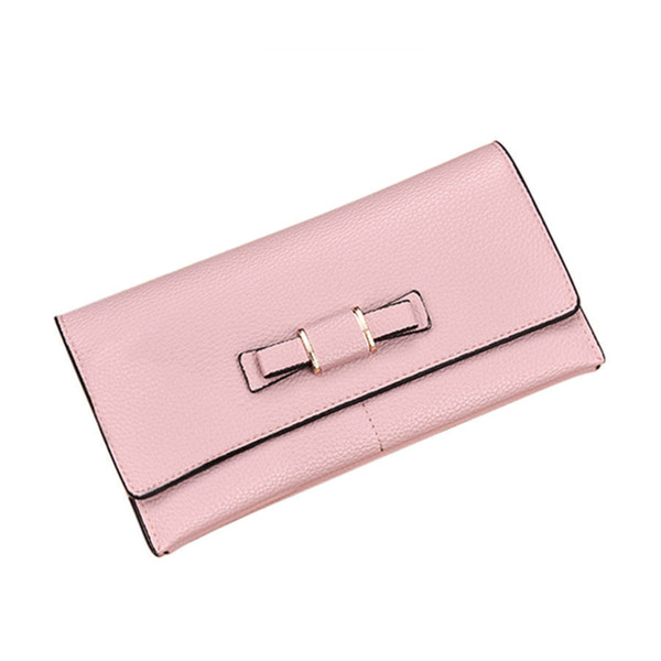 Cute Bownot Long Zipper Women Wallet Big Capacity Multi-card Women Purse Brand Pu Leather Phone Card Females Wallet Lady Holder