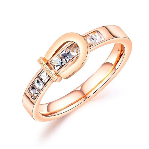 2019 Fashion Wedding anelli color oro rosa per le donne Bella piuttosto zircone cubico signore anelli gioielli accessori all'ingrosso