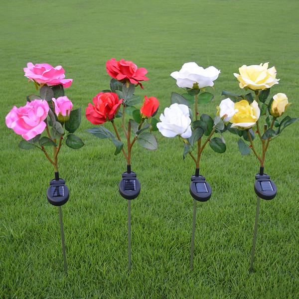 NEUE Outdoor Solarbetriebene Rose LED Licht Hausgarten Rasen Blume Landschaft Lampe