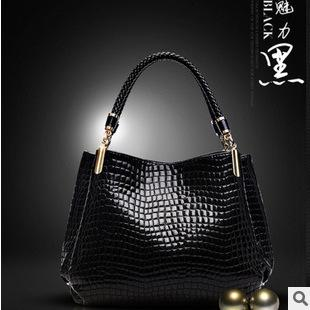 New crocodile pattern, leather handbag, European and American fashion casual bag, handbag