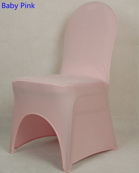 Baby pink colour lycra universal chair cover for wedding decoration spandex chair cover on sale banquet chair arch front open