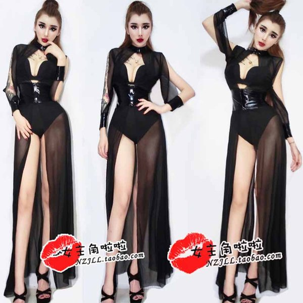 Nightclub Bar Female Singer DS Costumes Stage Performance Costume Jazz Dance Black Openwork Yarn Long Skirt Plus Shorts DQ11274