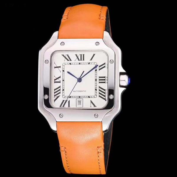 Luxusmode Neue stil 40mm Galbee XL Edelstahl Weißes Zifferblatt Automatische Mechanische Lederbänder Strap Herrenuhr Watche