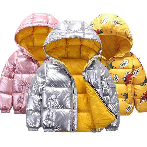 Veste d'hiver nouvelles pour les enfants pour les enfants filles veste garçon d'or d'argent vêtements à capuchon décontracté enfants veste snowsuit espace V191115