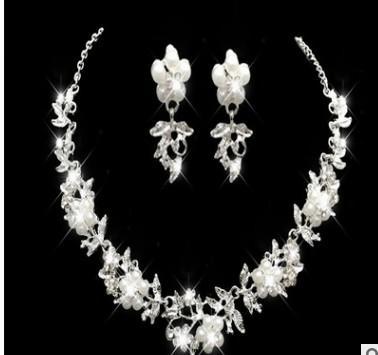 wonderful low price high quality diamond crystal wedding bride lady's necklace earings set 8eree