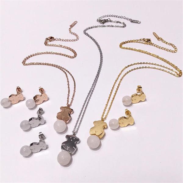 Oso de lujo Collares pendientes Aretes Conjuntos Moda Oso Collares Animal Stud Pendientes Mujeres Oro Plata Rosa Sistemas de la joyería