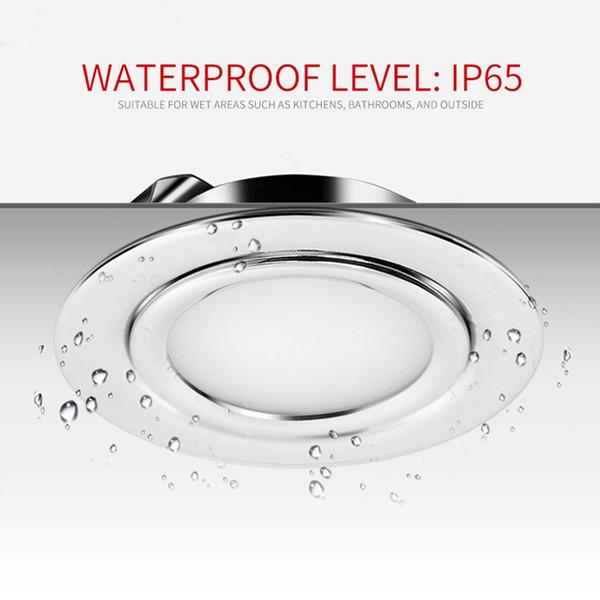 Mutfak Dolabı Lambası için Paslanmaz Çelik 3W 12V DC 14mm Kalınlığı IP65 su geçirmez Gizli Sıva LED Tavan Spot Işık