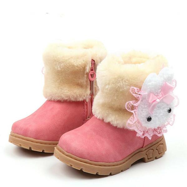 Девушки Сапоги Новая Мода Теплая Детская Обувь Мультфильм Лодыжки Дети Сапоги Плоский Ботинок Для Девочек Теплый Резиновый Ботинок Коричневый Розовый Красный