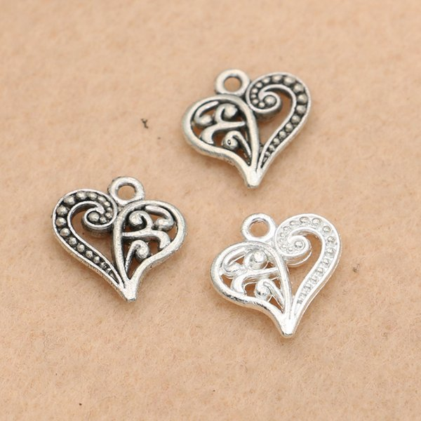 charm pendant KJjewel Tibetan Silver Plated Heart Charms Pendants Jewelry Making Neckalce Craft Diy Accessories Handmade 15x14mm