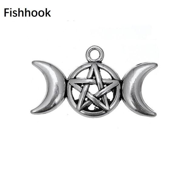 Fishhook Тройной Богиня Луна подвеска Подвеска Fit браслет ожерелье Пентаграмма Пентакль защита Античной Star Viking Jewelry