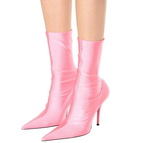 Floral Stretch Fabric Women Sock Boots Pointed Toe Mid-Calf Women Boots Brand Design High Heel Women Boots 44 Size