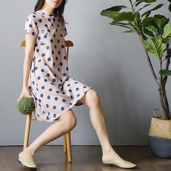 Nizza Sommer Mädchen chinesischen Stil Kleid Blumendruck Cheongsam für Frauen Leistung Kostüm Floral Qipao