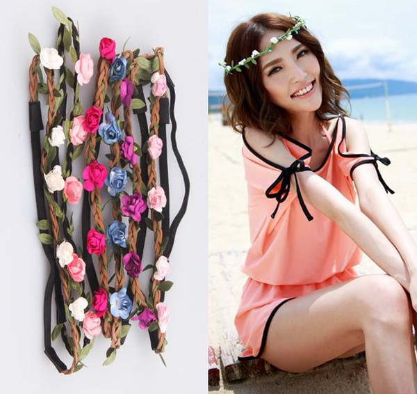 Newest Handmade Rose Floral Leaves Hair Band Flower Headband Crown Hippy Boho bridesmaid Tiaras Leather Headbands beach charm hair jewelry