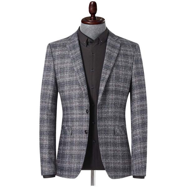 YUSHU Frühling Herbst Blazer Herren Slim Fit Blazer Jacke Mode Lässig Boutique Plaid Jacken Mäntel Terno Masculino