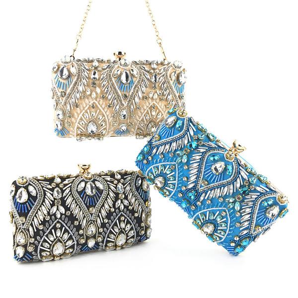 xiniu Evening Clutch Bags Bolso de noche con tachuelas de diamantes con bolso de hombro con cadena Bolsos de mujer Carteras banquete de boda # 0503