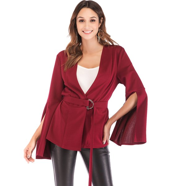 Cardigans for Women Split Long Sleeve Wine Burgundy Short Waist Tie Fashion Elegant Lady Coat 4133