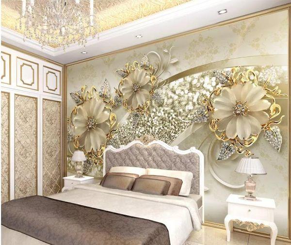 best selling Golden 3d stereo European pattern jewelry TV background wall modern wallpaper for living room