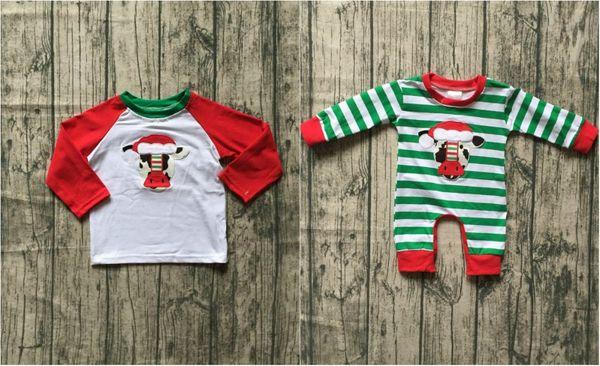 new arrival Fall/winter baby boys boutique clothes cow shirt top raglans infant cotton Christmas tutu tripe romper Toddler kids